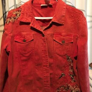 CHICO'S Jean Jacket in awesome red